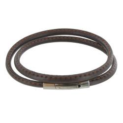 Bracelet Homme Cuir Marron Fin Cousu Fermoir Acier Inoxydable - Classics