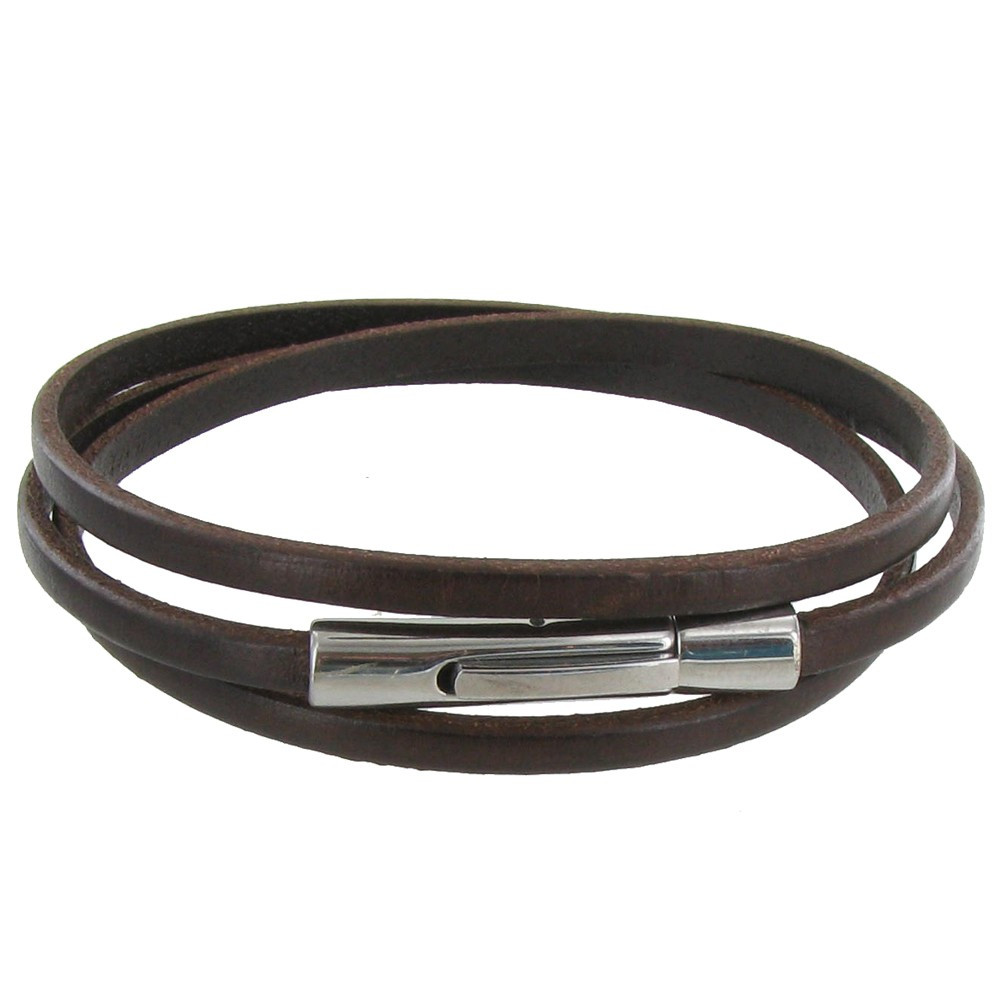 bracelet femme cuir marron fonc plat fermoir acier inoxydable. Black Bedroom Furniture Sets. Home Design Ideas