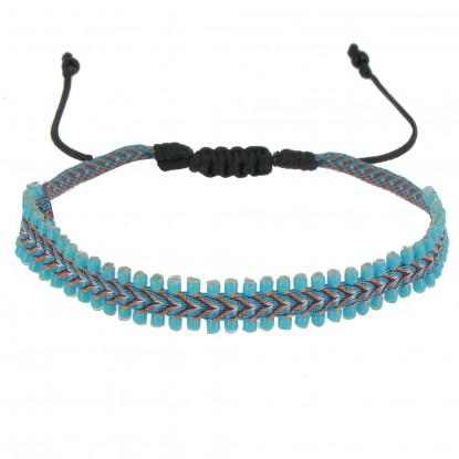 Bracelet Tissé Orange et Bleu Perles Turquoise