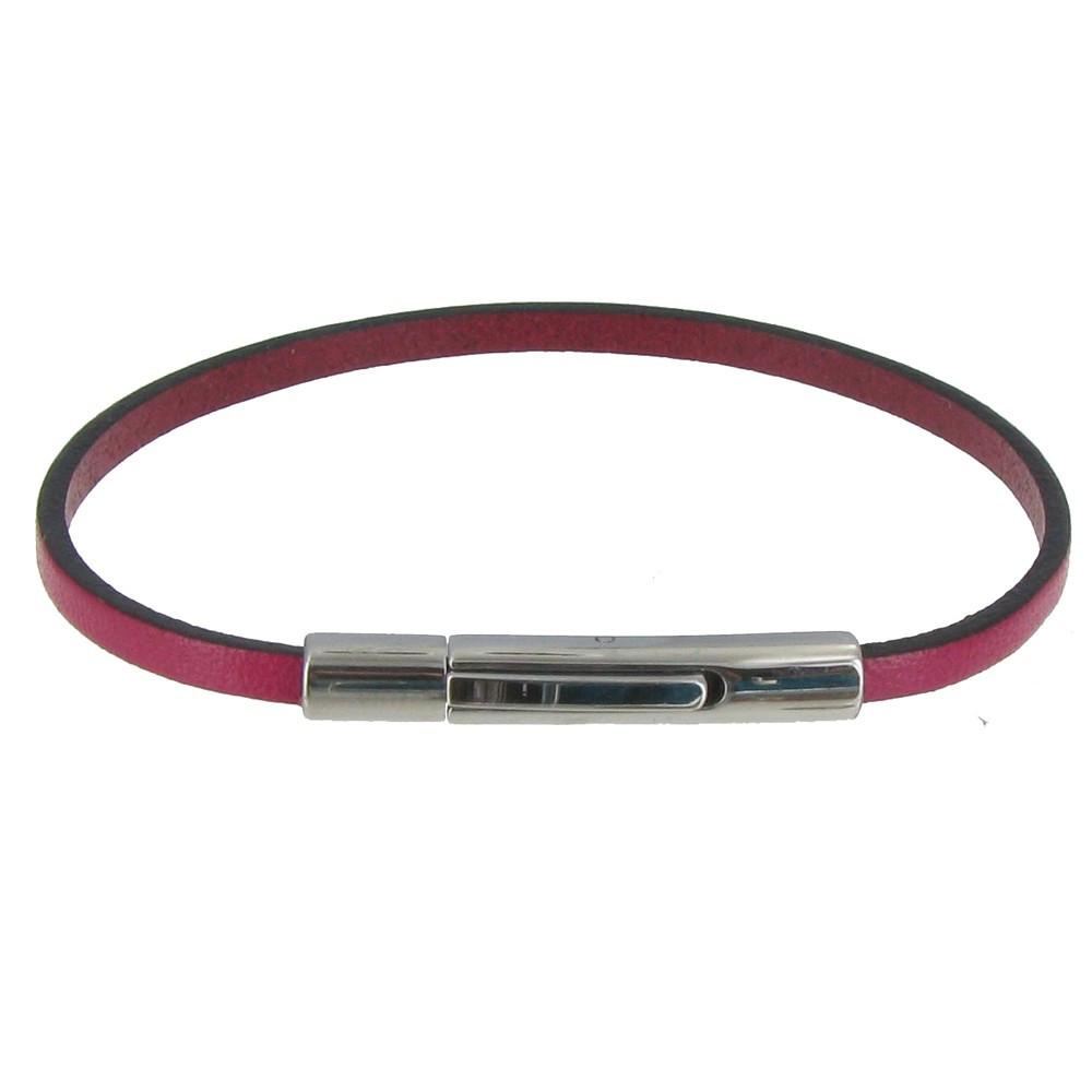 bracelet femme cuir fuchsia simple fermoir acier inoxydable. Black Bedroom Furniture Sets. Home Design Ideas